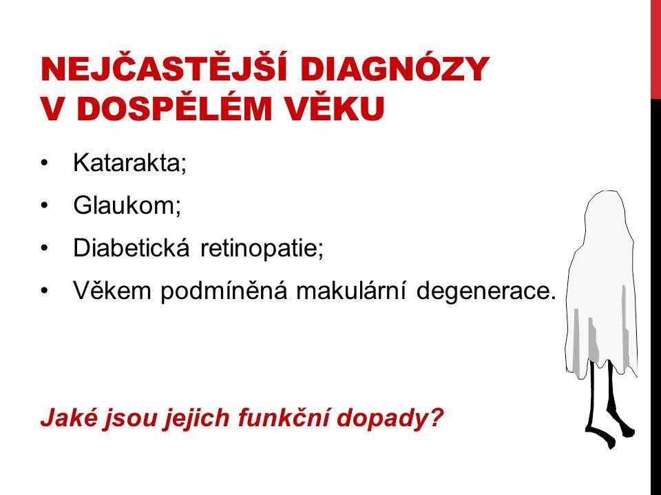 NEJČASTĚJŠÍ DIAGNÓZY V DOSPĚLÉM VĚKU Katarakta; Glaukom; Diabetická retinopatie; Věkem podmíněná makulární degenerace. Jaké jsou jejich funkční dopady