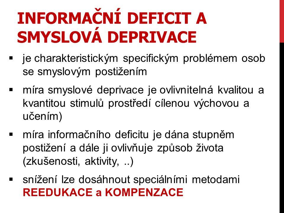 INFORMAČNÍ DEFICIT A SMYSLOVÁ DEPRIVACE  je charakteristickým specifickým problémem osob se smyslovým postižením  míra smyslové deprivace je ovlivni