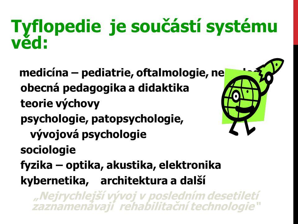Tyflopedie je součástí systému věd: medicína – pediatrie, oftalmologie, neurologie obecná pedagogika a didaktika teorie výchovy psychologie, patopsych