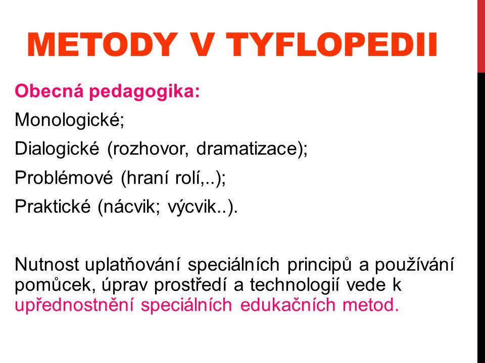 METODY V TYFLOPEDII Obecná pedagogika: Monologické; Dialogické (rozhovor, dramatizace); Problémové (hraní rolí,..); Praktické (nácvik; výcvik..). Nutn