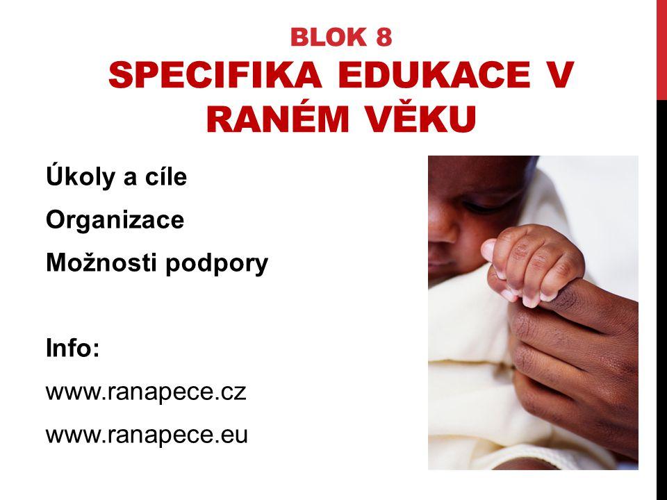 BLOK 8 SPECIFIKA EDUKACE V RANÉM VĚKU Úkoly a cíle Organizace Možnosti podpory Info: www.ranapece.cz www.ranapece.eu