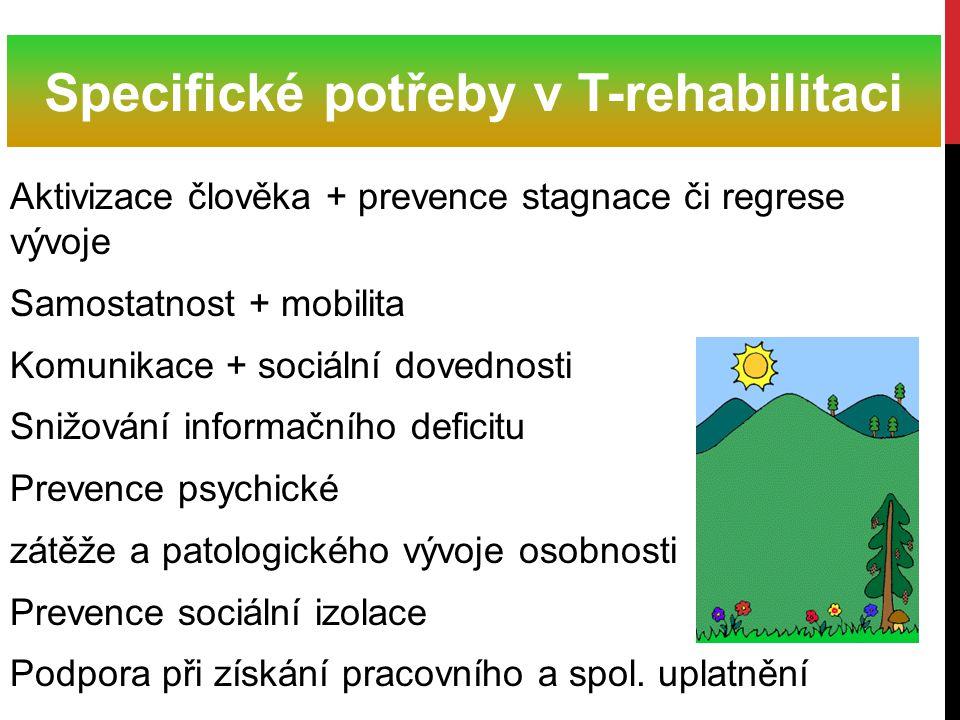 Aktivizace člověka + prevence stagnace či regrese vývoje Samostatnost + mobilita Komunikace + sociální dovednosti Snižování informačního deficitu Prev
