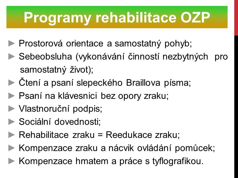► Prostorová orientace a samostatný pohyb; ► Sebeobsluha (vykonávání činností nezbytných pro samostatný život); ► Čtení a psaní slepeckého Braillova p