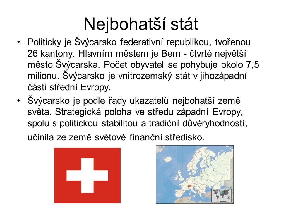 Nejbohatší stát Politicky je Švýcarsko federativní republikou, tvořenou 26 kantony. Hlavním městem je Bern - čtvrté největší město Švýcarska. Počet ob
