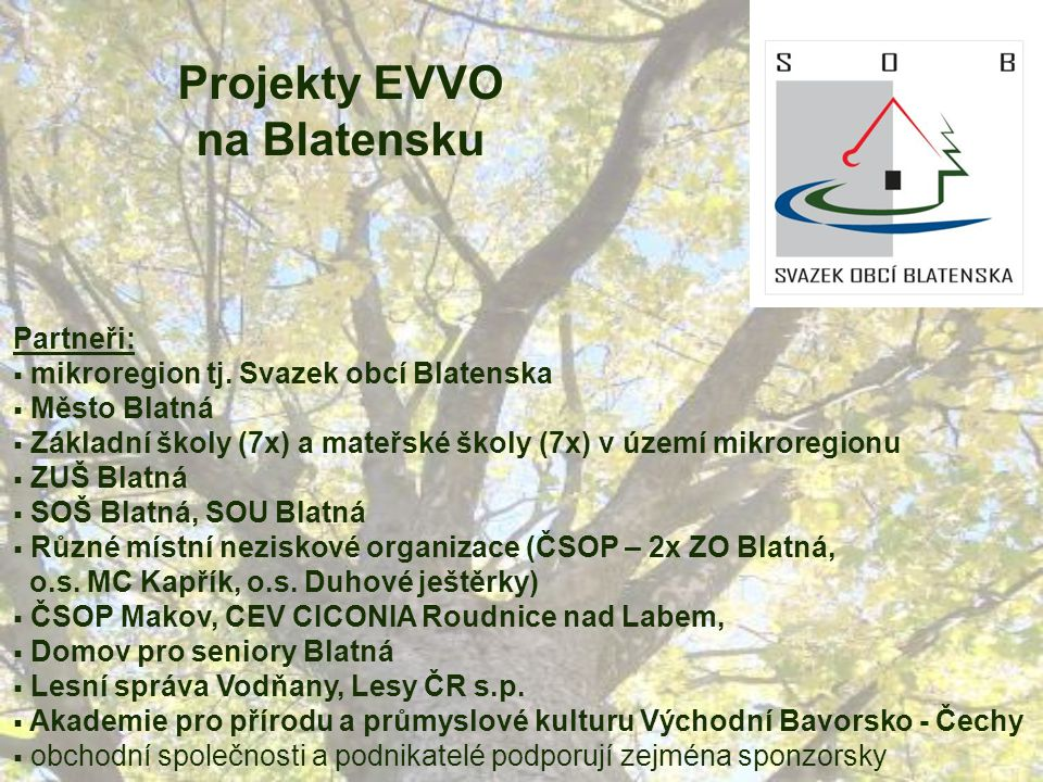 Projekty EVVO na Blatensku Partneři:  mikroregion tj.