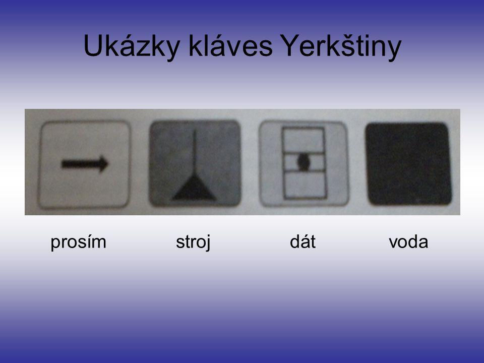 Ukázky kláves Yerkštiny prosím stroj dát voda