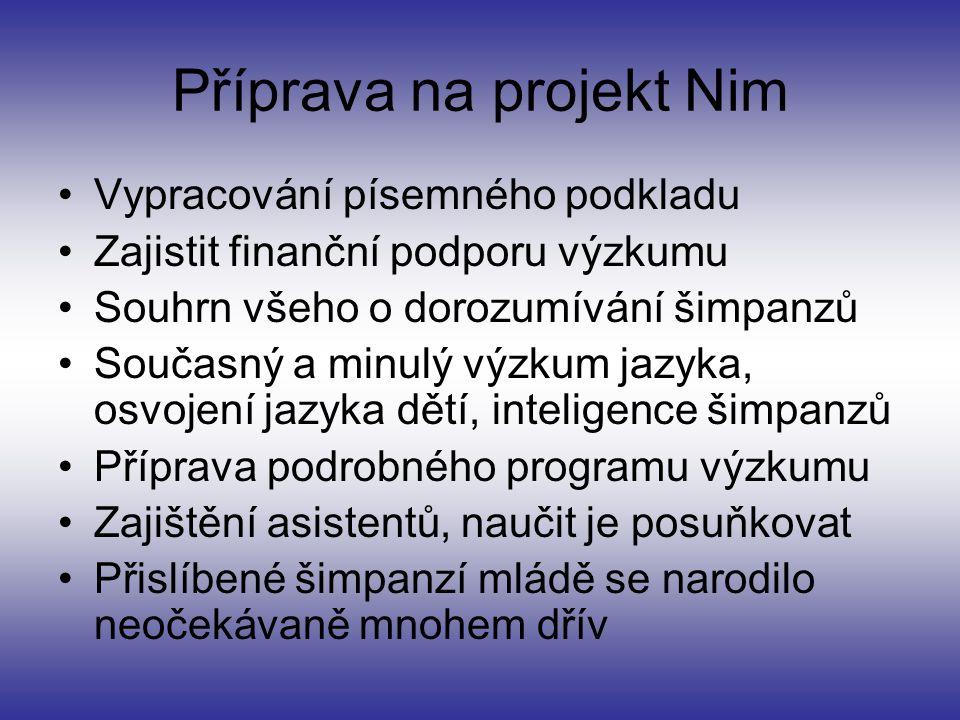 Příprava na projekt Nim Vypracování písemného podkladu Zajistit finanční podporu výzkumu Souhrn všeho o dorozumívání šimpanzů Současný a minulý výzkum