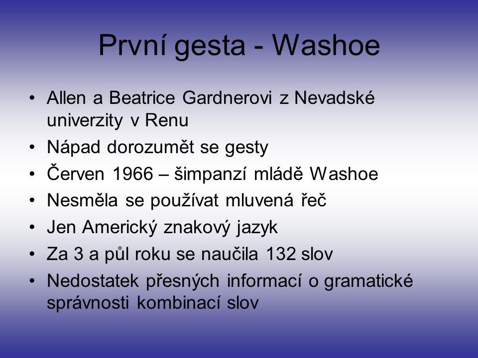 První gesta - Washoe Allen a Beatrice Gardnerovi z Nevadské univerzity v Renu Nápad dorozumět se gesty Červen 1966 – šimpanzí mládě Washoe Nesměla se