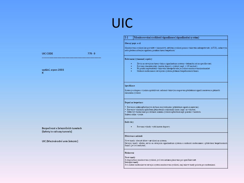 UIC UIC CODE 779 - 9 ___________________________________________ vydání, srpen 2003 R Bezpečnost v železničních tunelech (Safety in railway tunnels) U