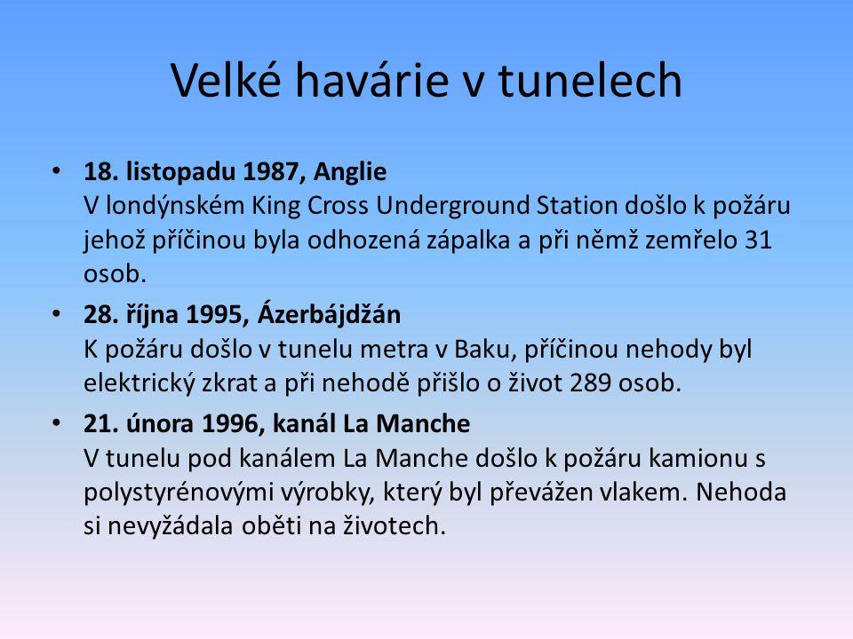 Velké havárie v tunelech 18. listopadu 1987, Anglie V londýnském King Cross Underground Station došlo k požáru jehož příčinou byla odhozená zápalka a
