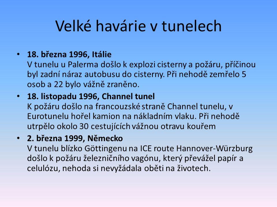 Velké havárie v tunelech 18. března 1996, Itálie V tunelu u Palerma došlo k explozi cisterny a požáru, příčinou byl zadní náraz autobusu do cisterny.
