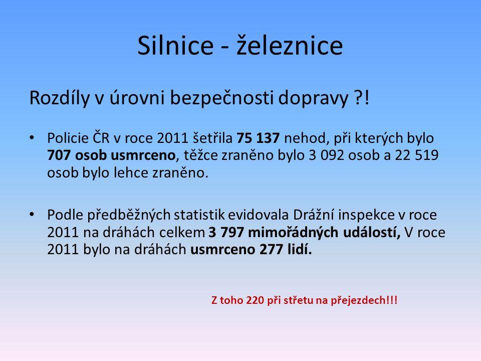 Silnice - železnice Rozdíly v úrovni bezpečnosti dopravy ?! Policie ČR v roce 2011 šetřila 75 137 nehod, při kterých bylo 707 osob usmrceno, těžce zra