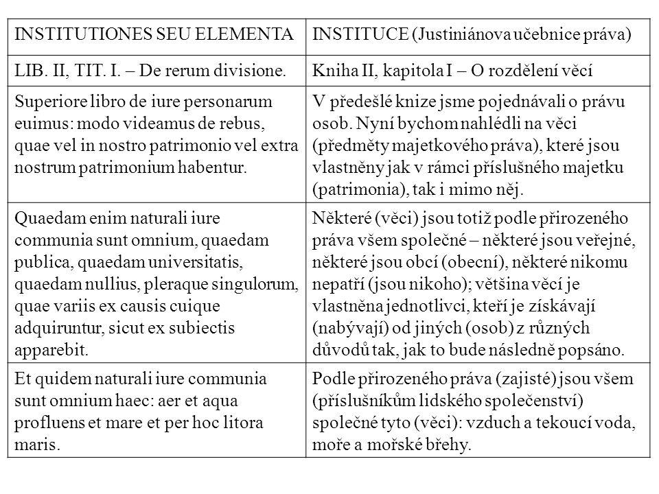 INSTITUTIONES SEU ELEMENTAINSTITUCE (Justiniánova učebnice práva) LIB. II, TIT. I. – De rerum divisione.Kniha II, kapitola I – O rozdělení věcí Superi