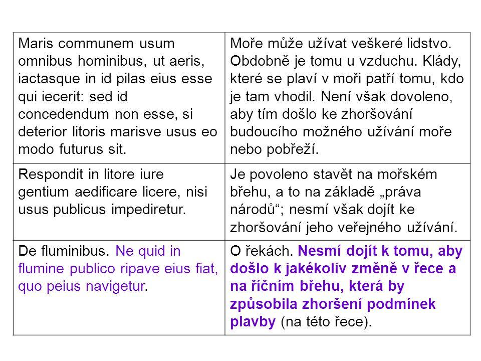 Maris communem usum omnibus hominibus, ut aeris, iactasque in id pilas eius esse qui iecerit: sed id concedendum non esse, si deterior litoris marisve