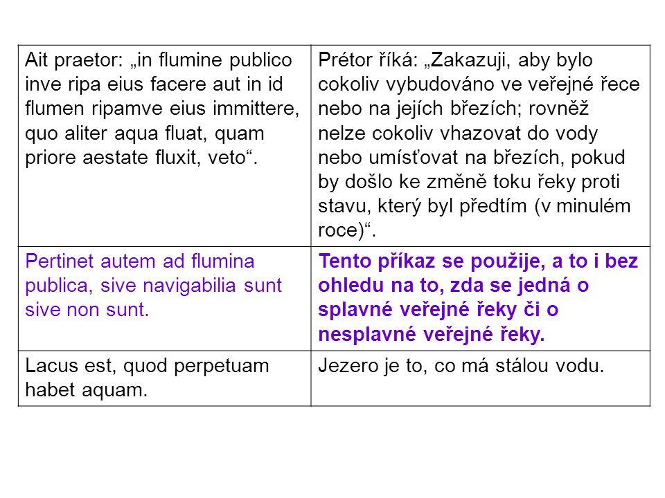 """Ait praetor: """"in flumine publico inve ripa eius facere aut in id flumen ripamve eius immittere, quo aliter aqua fluat, quam priore aestate fluxit, vet"""