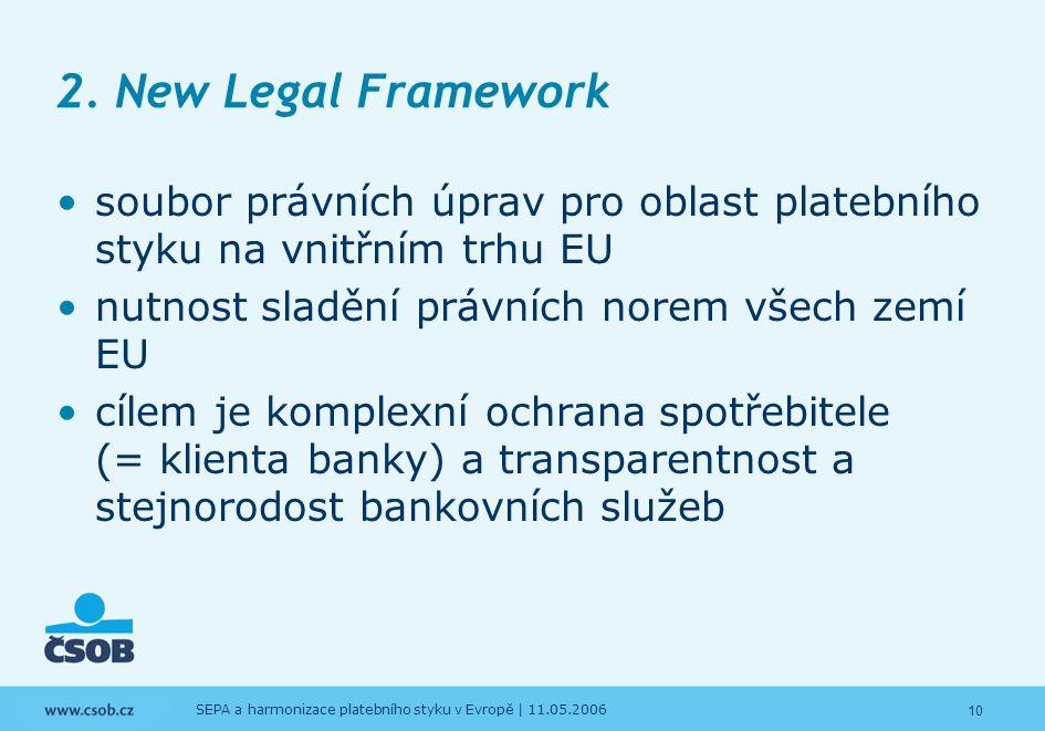10 SEPA a harmonizace platebního styku v Evropě | 11.05.2006 2. New Legal Framework soubor právních úprav pro oblast platebního styku na vnitřním trhu