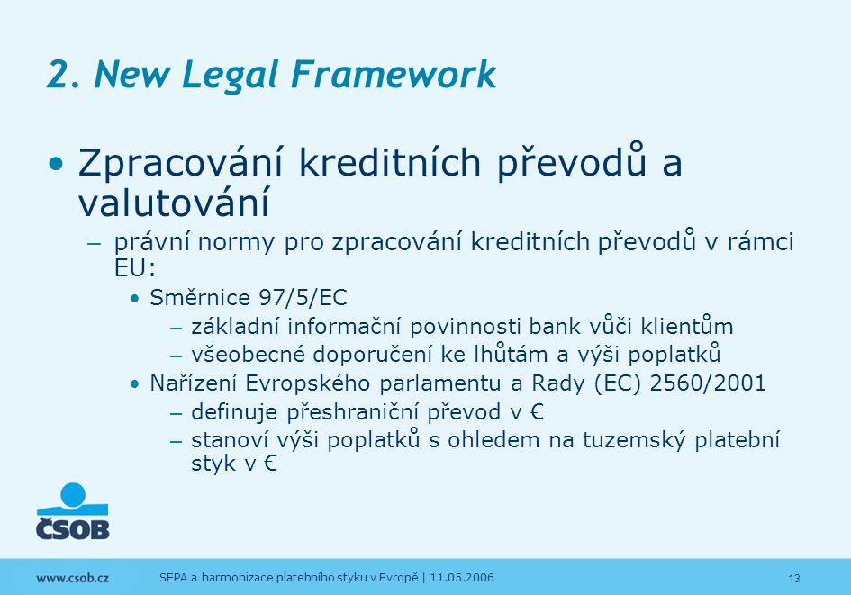 13 SEPA a harmonizace platebního styku v Evropě | 11.05.2006 2. New Legal Framework Zpracování kreditních převodů a valutování – právní normy pro zpra