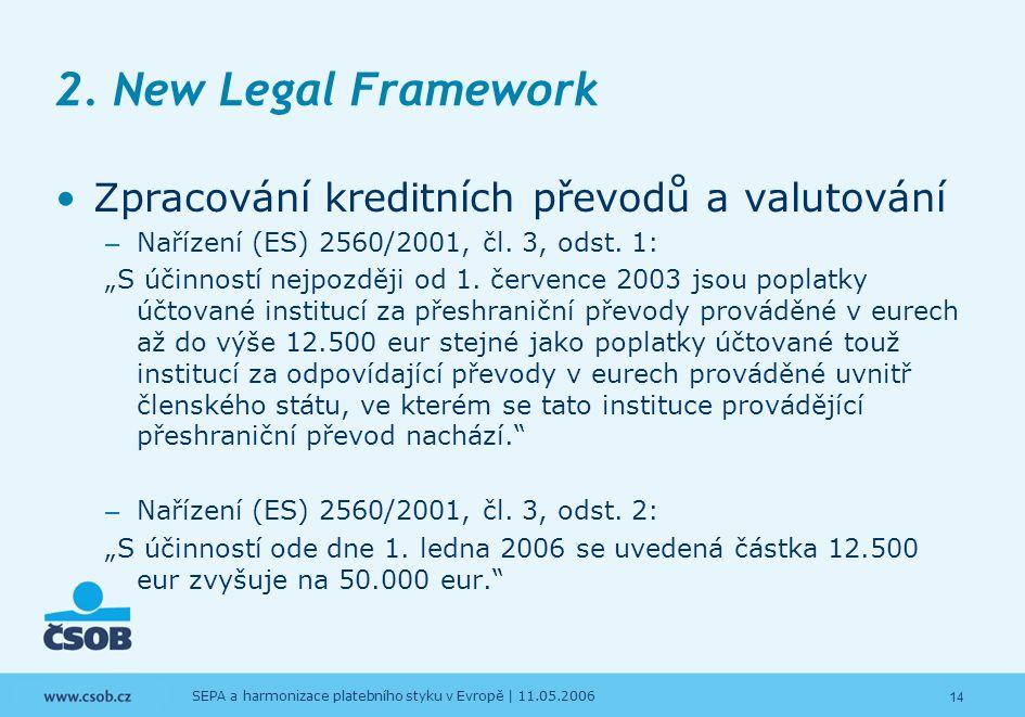 14 SEPA a harmonizace platebního styku v Evropě | 11.05.2006 2. New Legal Framework Zpracování kreditních převodů a valutování – Nařízení (ES) 2560/20