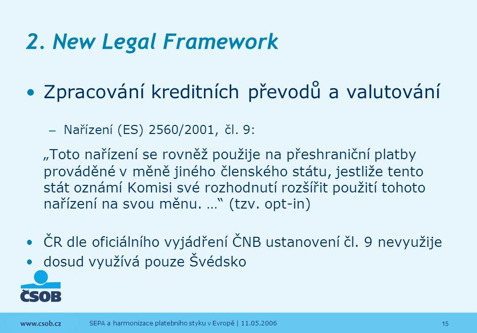 15 SEPA a harmonizace platebního styku v Evropě | 11.05.2006 2. New Legal Framework Zpracování kreditních převodů a valutování – Nařízení (ES) 2560/20