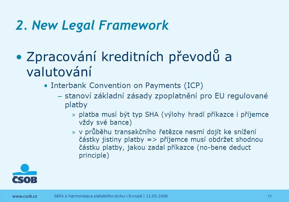 17 SEPA a harmonizace platebního styku v Evropě | 11.05.2006 2. New Legal Framework Zpracování kreditních převodů a valutování Interbank Convention on