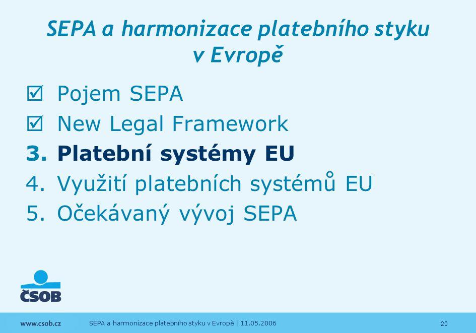20 SEPA a harmonizace platebního styku v Evropě | 11.05.2006 SEPA a harmonizace platebního styku v Evropě  Pojem SEPA  New Legal Framework 3.Platebn