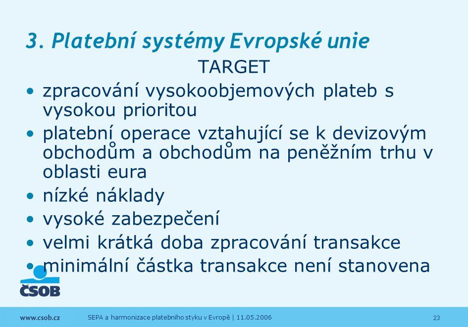 23 SEPA a harmonizace platebního styku v Evropě | 11.05.2006 3. Platební systémy Evropské unie TARGET zpracování vysokoobjemových plateb s vysokou pri