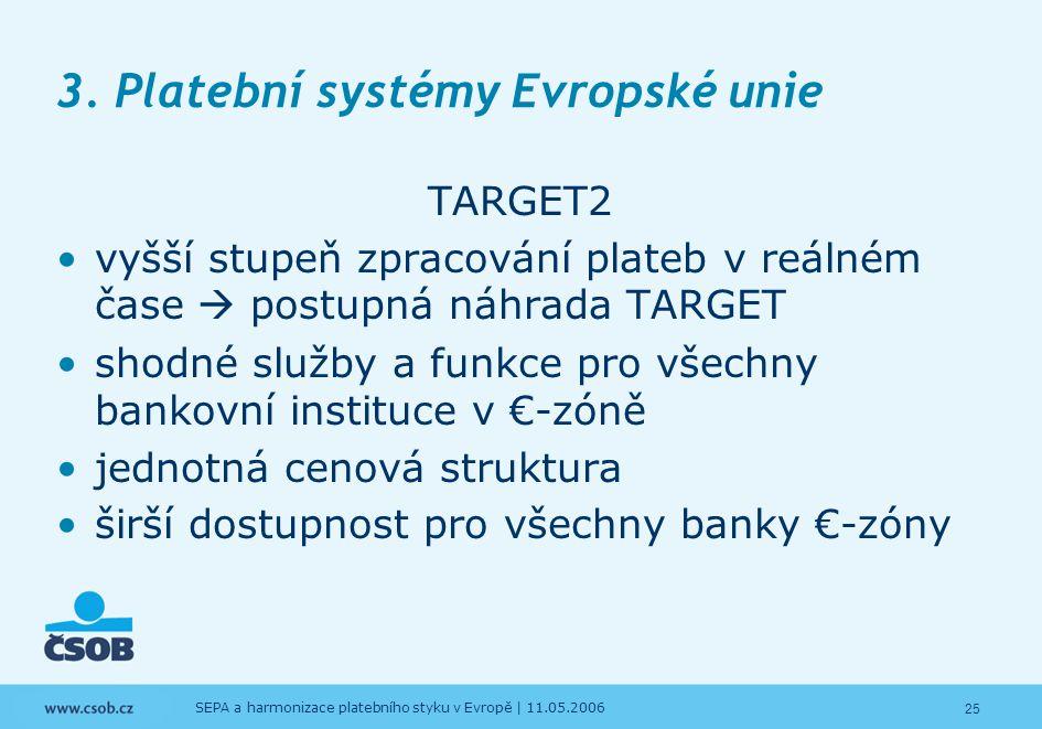 25 SEPA a harmonizace platebního styku v Evropě | 11.05.2006 3. Platební systémy Evropské unie TARGET2 vyšší stupeň zpracování plateb v reálném čase 