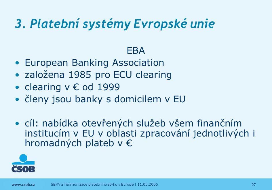 27 SEPA a harmonizace platebního styku v Evropě | 11.05.2006 3. Platební systémy Evropské unie EBA European Banking Association založena 1985 pro ECU