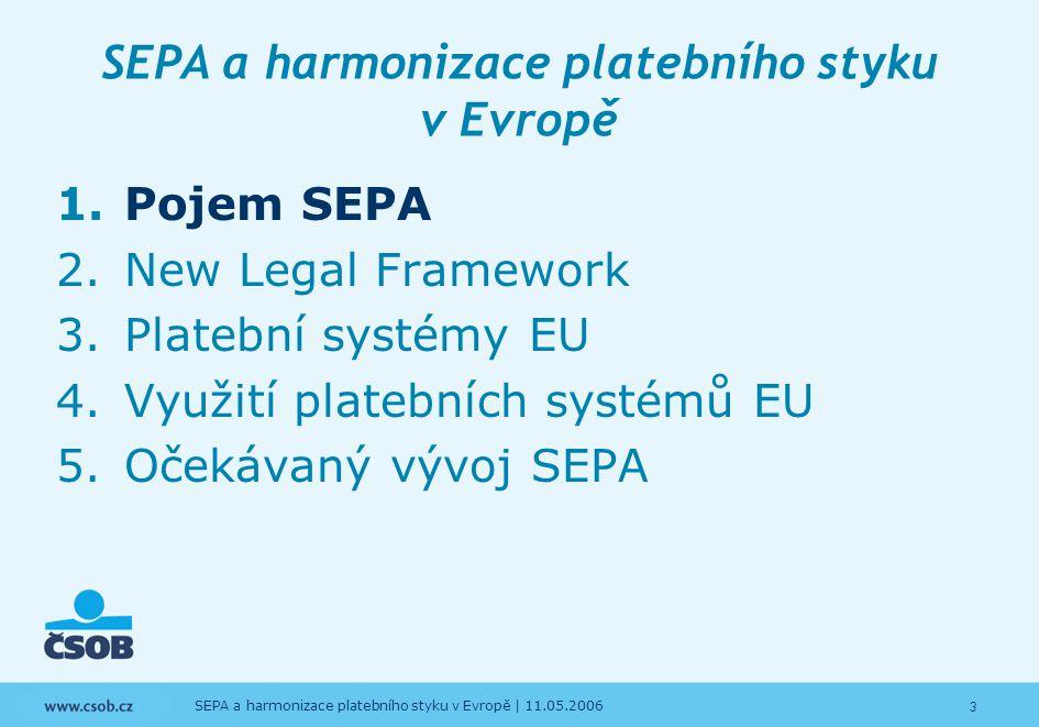3 SEPA a harmonizace platebního styku v Evropě | 11.05.2006 SEPA a harmonizace platebního styku v Evropě 1.Pojem SEPA 2.New Legal Framework 3.Platební