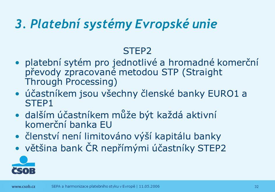 32 SEPA a harmonizace platebního styku v Evropě | 11.05.2006 3. Platební systémy Evropské unie STEP2 platební sytém pro jednotlivé a hromadné komerční