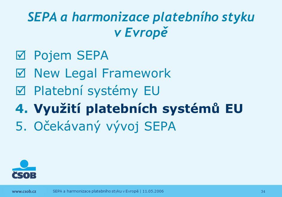 34 SEPA a harmonizace platebního styku v Evropě | 11.05.2006 SEPA a harmonizace platebního styku v Evropě  Pojem SEPA  New Legal Framework  Platebn