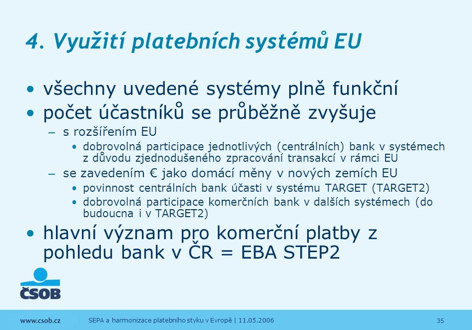 35 SEPA a harmonizace platebního styku v Evropě | 11.05.2006 4. Využití platebních systémů EU všechny uvedené systémy plně funkční počet účastníků se