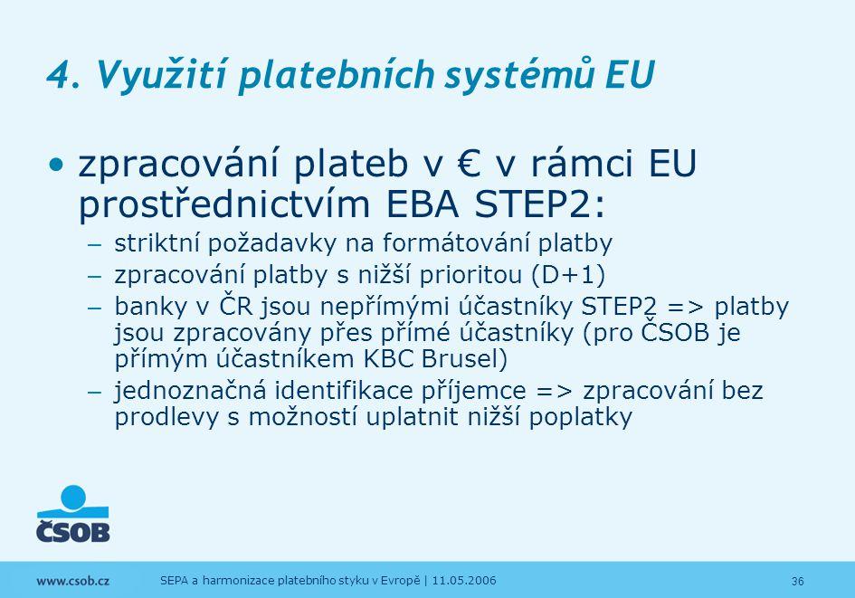 36 SEPA a harmonizace platebního styku v Evropě | 11.05.2006 4. Využití platebních systémů EU zpracování plateb v € v rámci EU prostřednictvím EBA STE