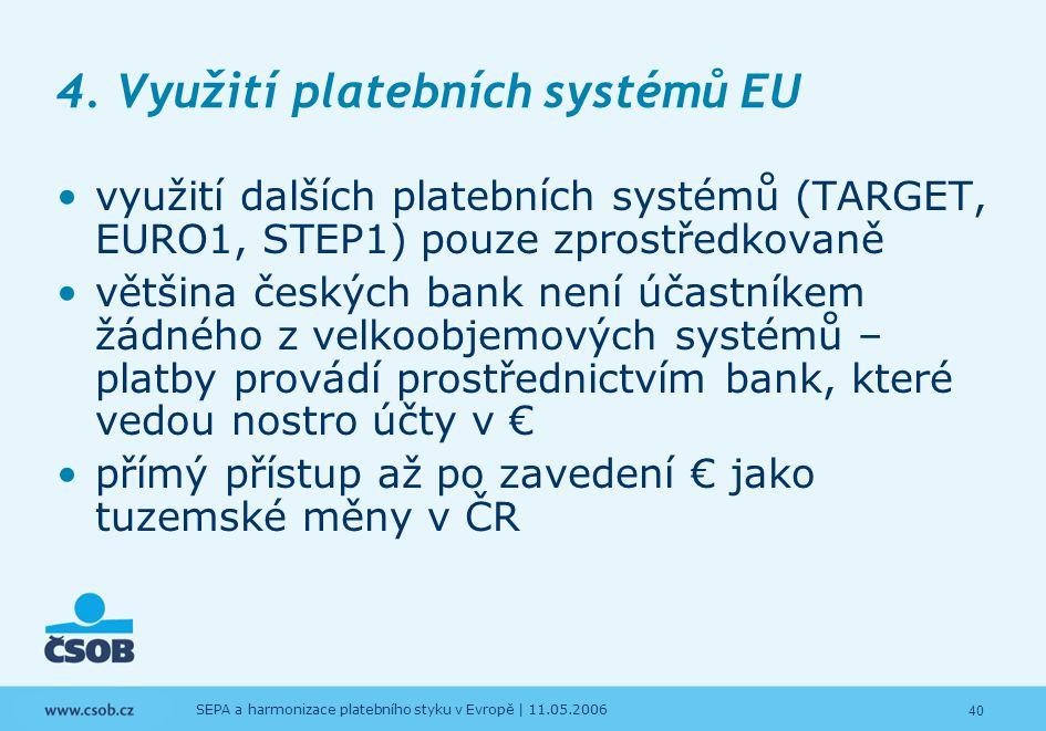 40 SEPA a harmonizace platebního styku v Evropě | 11.05.2006 4. Využití platebních systémů EU využití dalších platebních systémů (TARGET, EURO1, STEP1