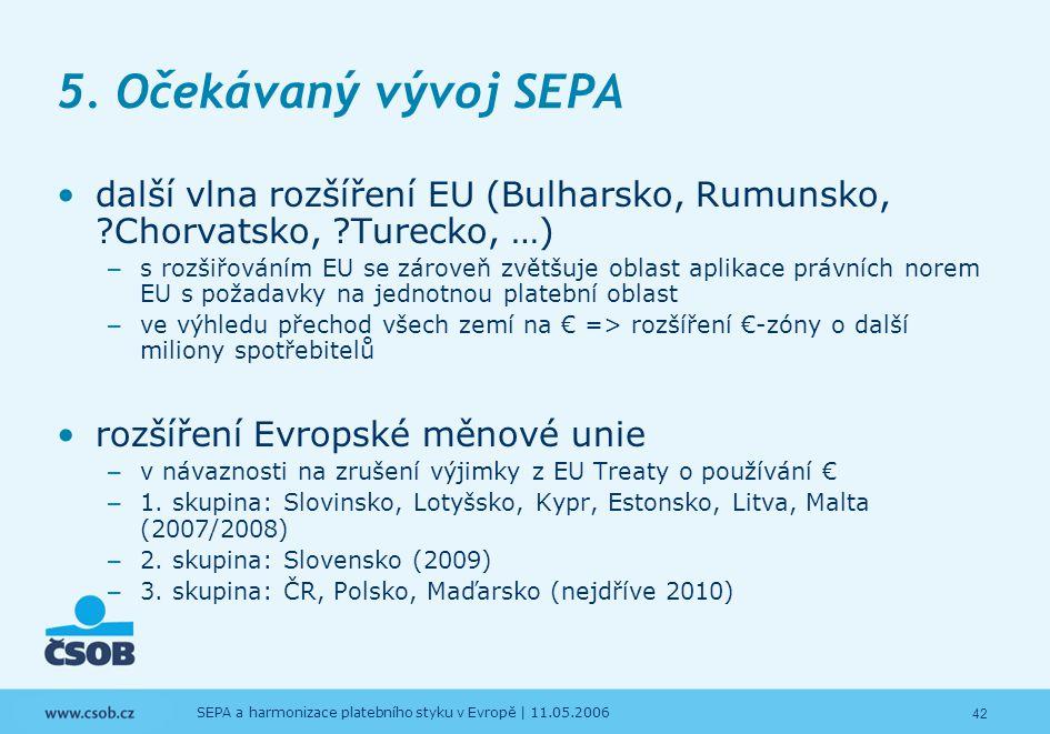 42 SEPA a harmonizace platebního styku v Evropě | 11.05.2006 5. Očekávaný vývoj SEPA další vlna rozšíření EU (Bulharsko, Rumunsko, ?Chorvatsko, ?Turec