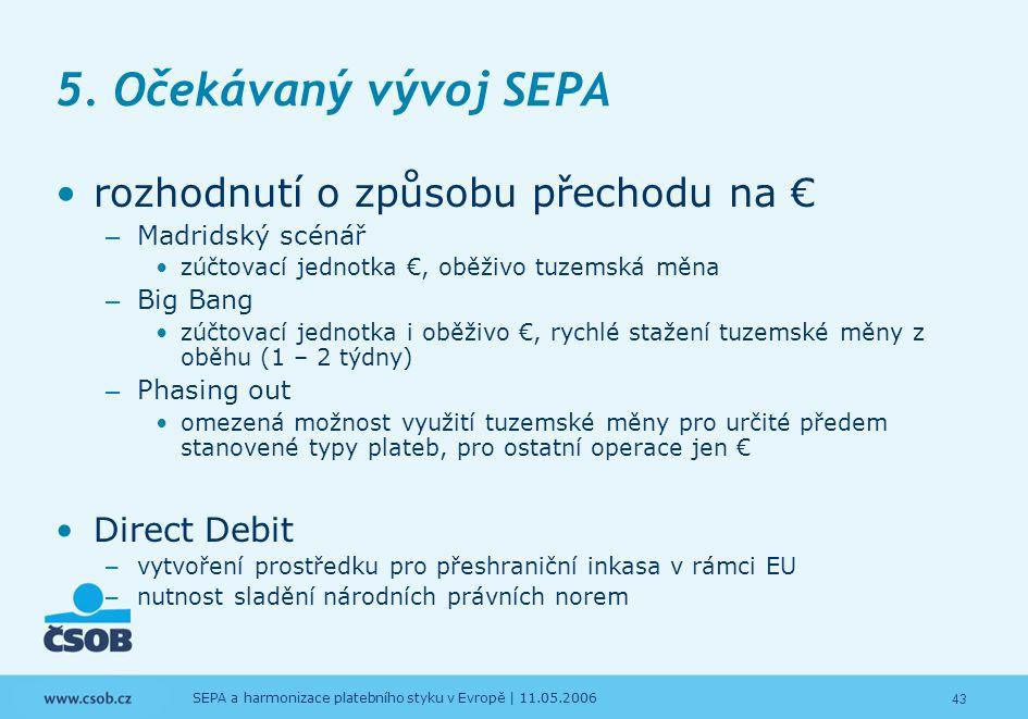 43 SEPA a harmonizace platebního styku v Evropě | 11.05.2006 5. Očekávaný vývoj SEPA rozhodnutí o způsobu přechodu na € – Madridský scénář zúčtovací j