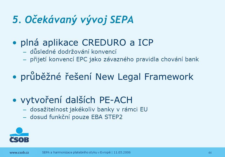 44 SEPA a harmonizace platebního styku v Evropě | 11.05.2006 5. Očekávaný vývoj SEPA plná aplikace CREDURO a ICP – důsledné dodržování konvencí – přij