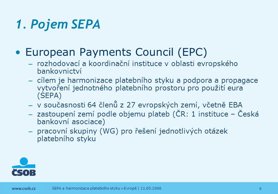 6 SEPA a harmonizace platebního styku v Evropě | 11.05.2006 1. Pojem SEPA European Payments Council (EPC) – rozhodovací a koordinační instituce v obla