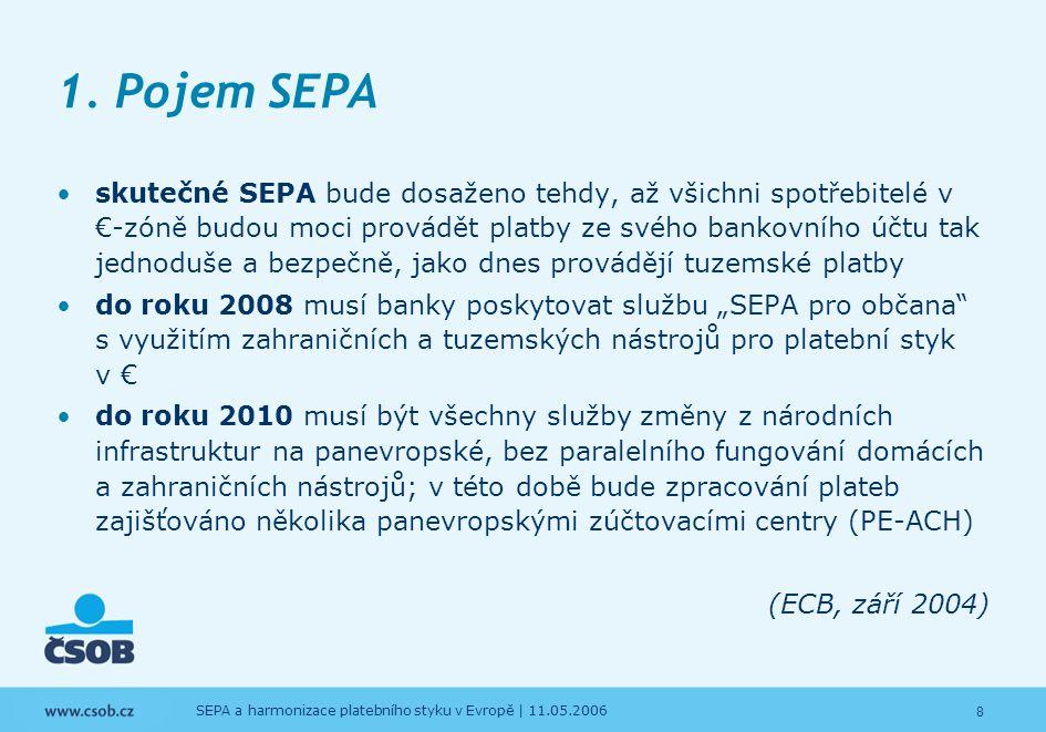 9 SEPA a harmonizace platebního styku v Evropě   11.05.2006 SEPA a harmonizace platebního styku v Evropě  Pojem SEPA 2.New Legal Framework 3.Platební systémy EU 4.Využití platebních systémů EU 5.Očekávaný vývoj SEPA