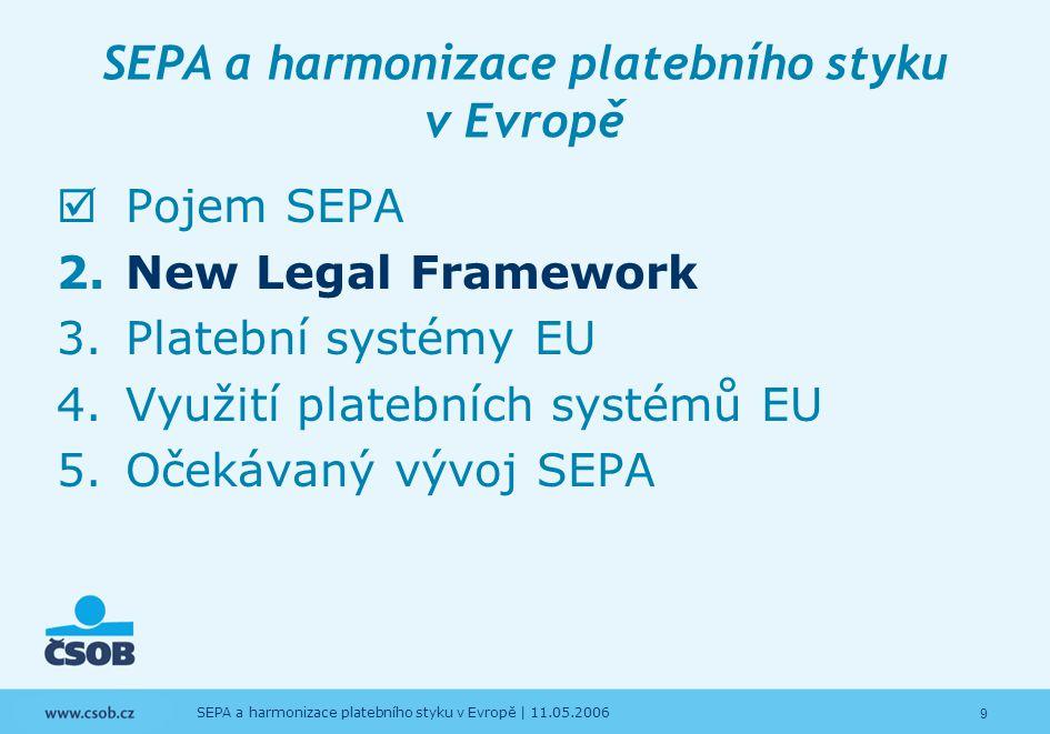 20 SEPA a harmonizace platebního styku v Evropě   11.05.2006 SEPA a harmonizace platebního styku v Evropě  Pojem SEPA  New Legal Framework 3.Platební systémy EU 4.Využití platebních systémů EU 5.Očekávaný vývoj SEPA