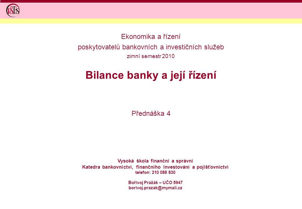 Bilance banky a její řízení Přednáška 4 Vysoká škola finanční a správní Katedra bankovnictví, finančního investování a pojišťovnictví telefon: 210 088