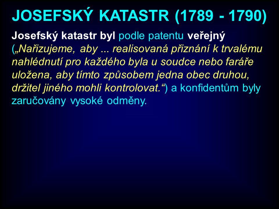 """Josefský katastr byl podle patentu veřejný (""""Nařizujeme, aby..."""