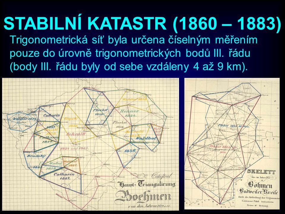 STABILNÍ KATASTR (1860 – 1883) Trigonometrická síť byla určena číselným měřením pouze do úrovně trigonometrických bodů III. řádu (body III. řádu byly