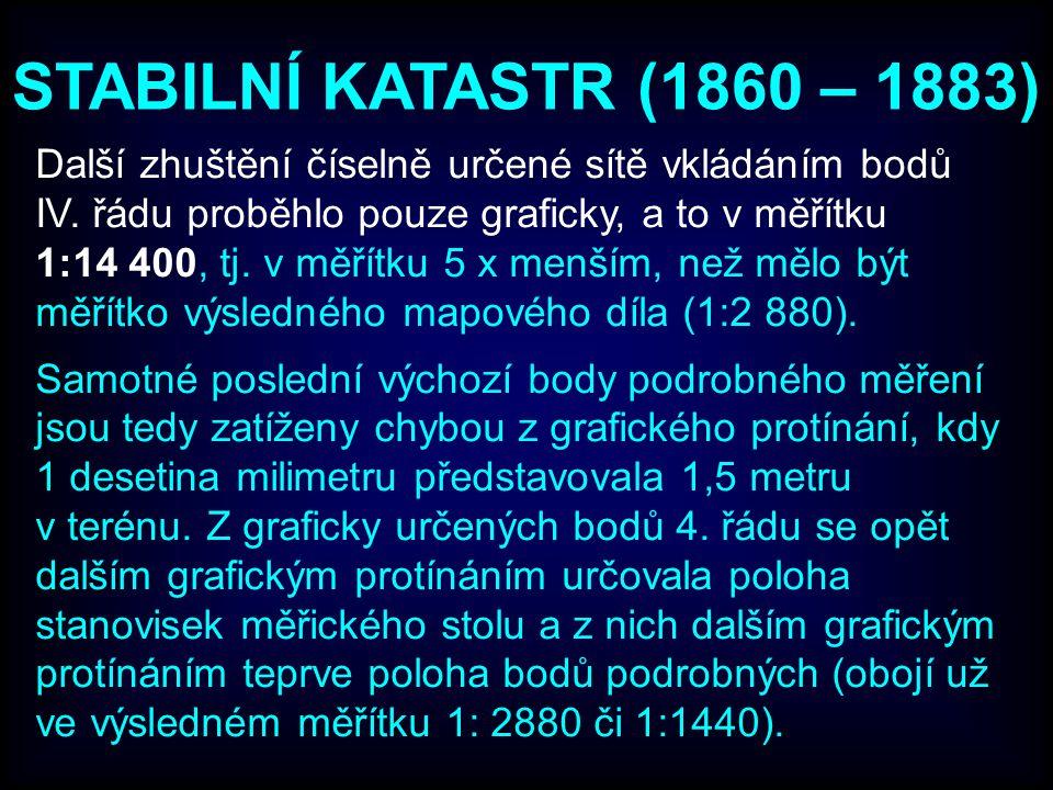 STABILNÍ KATASTR (1860 – 1883) Další zhuštění číselně určené sítě vkládáním bodů IV. řádu proběhlo pouze graficky, a to v měřítku 1:14 400, tj. v měří