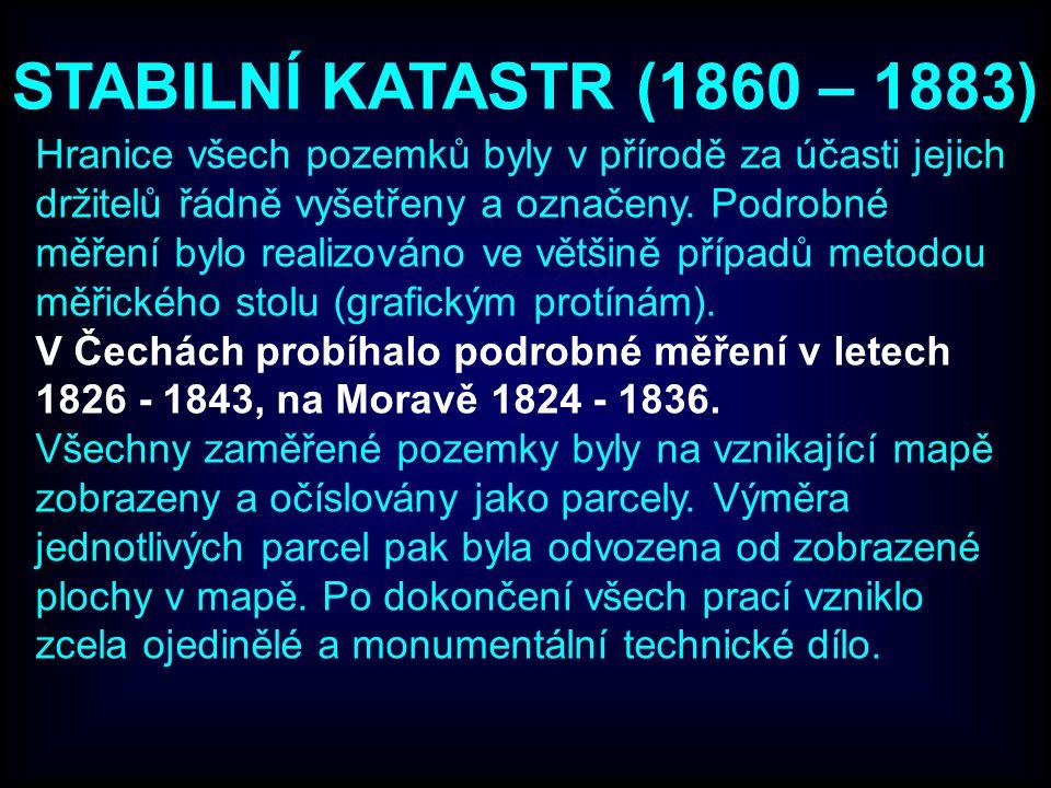 STABILNÍ KATASTR (1860 – 1883) Hranice všech pozemků byly v přírodě za účasti jejich držitelů řádně vyšetřeny a označeny.