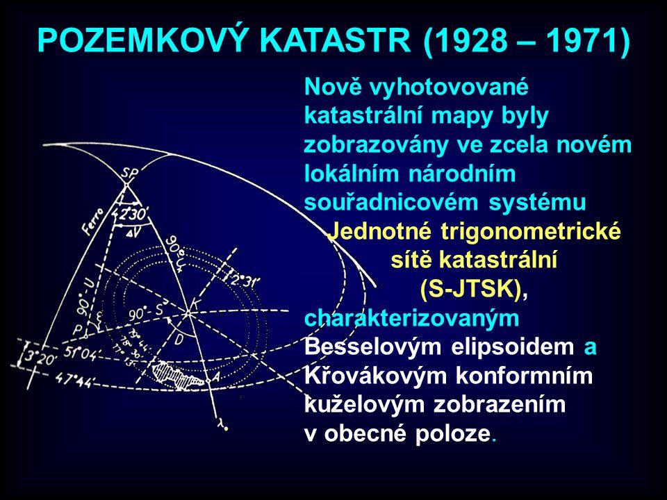 POZEMKOVÝ KATASTR (1928 – 1971) Nově vyhotovované katastrální mapy byly zobrazovány ve zcela novém lokálním národním souřadnicovém systému Jednotné tr