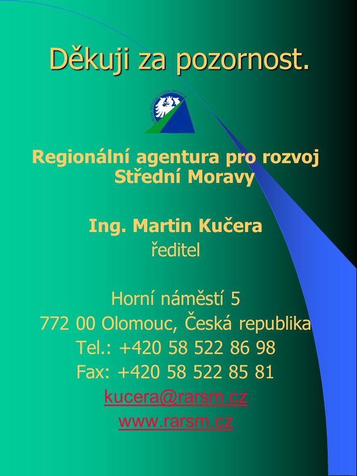 Děkuji za pozornost. Regionální agentura pro rozvoj Střední Moravy Ing.