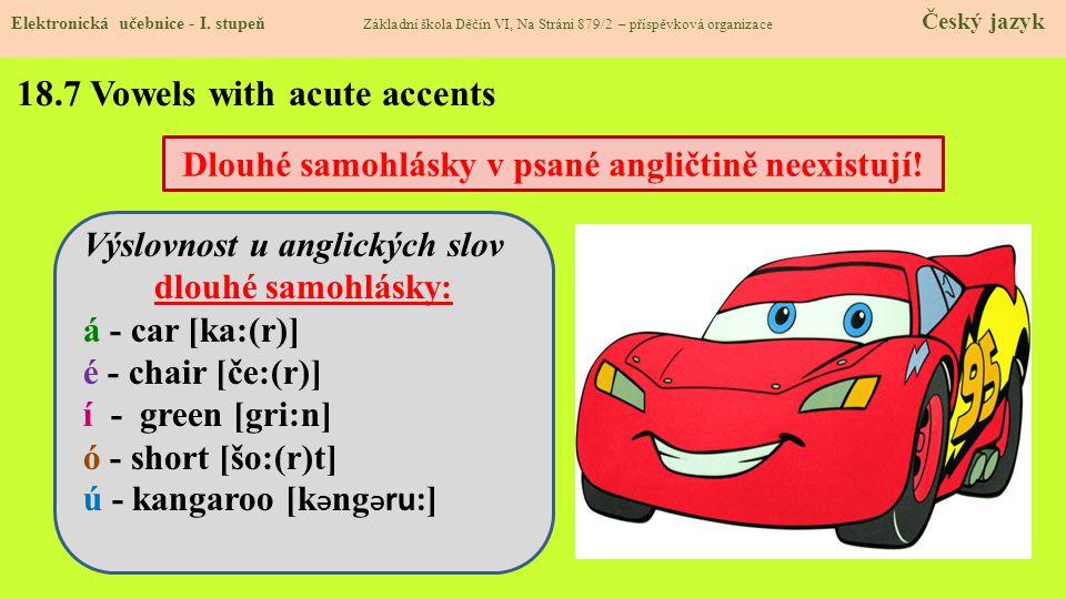 18.7 Vowels with acute accents Elektronická učebnice - I.