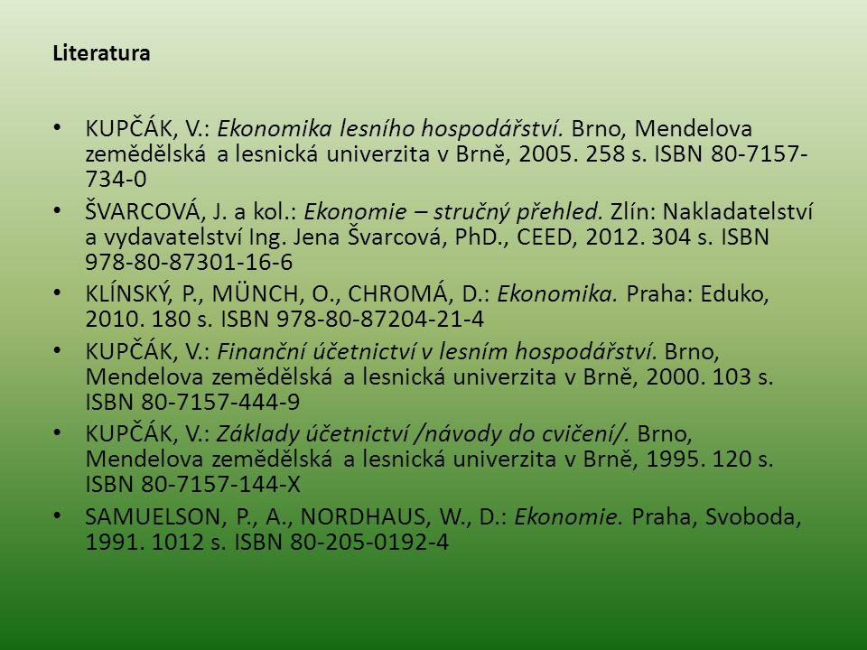 Literatura KUPČÁK, V.: Ekonomika lesního hospodářství. Brno, Mendelova zemědělská a lesnická univerzita v Brně, 2005. 258 s. ISBN 80-7157- 734-0 ŠVARC