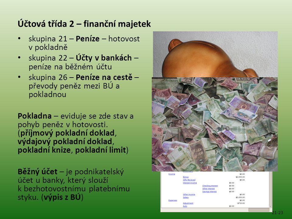 Účtová třída 2 – finanční majetek skupina 21 – Peníze – hotovost v pokladně skupina 22 – Účty v bankách – peníze na běžném účtu skupina 26 – Peníze na